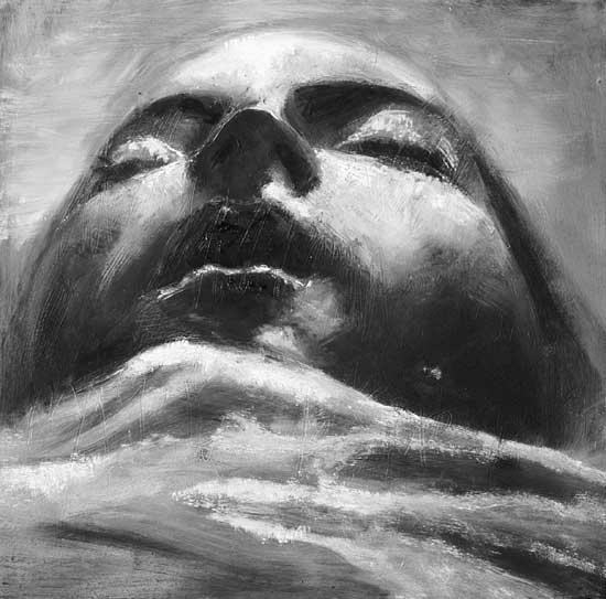 Retrato en escorzo (de la serie Expreso de imprecisiones), óleo/tabla, 35 3 35 cm, 2007