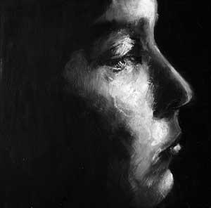 Perfil (de la serie Expreso de imprecisiones), óleo/tabla, 35 3 35 cm, 2006